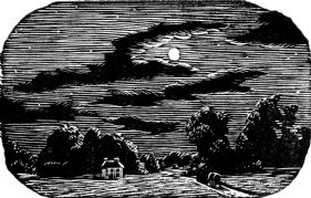 wood-engraving original print: The Moon for Cambridge Book of Poetry for Children